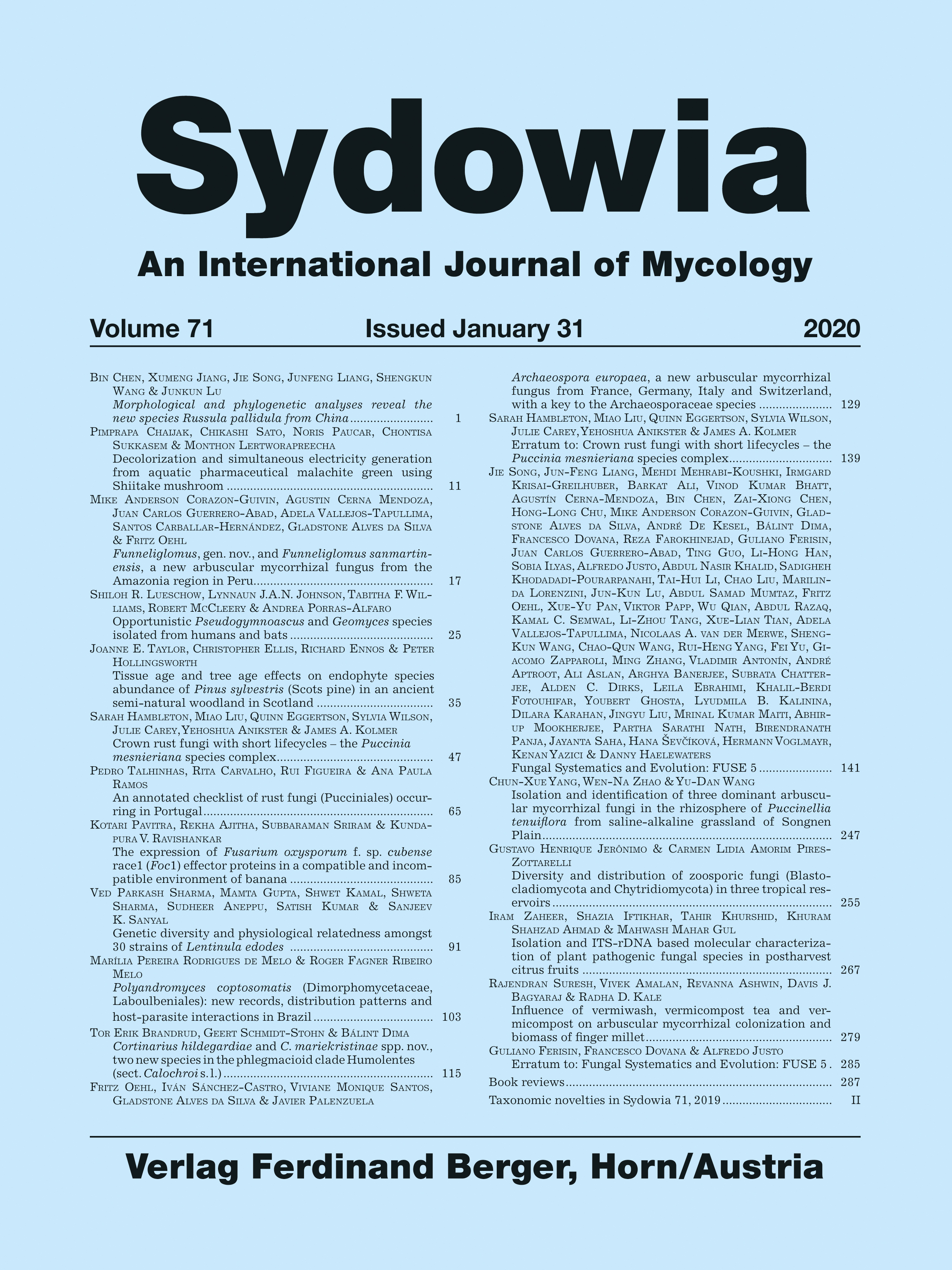 Sydowia Vol. 71 E-Book/S 285 OPEN ACCESS